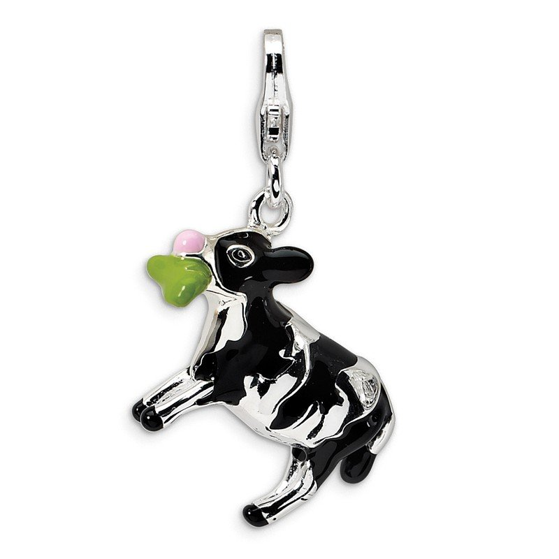 Quality Gold Sterling Silver 3-D Enameled Eating Cow w/Lobster Clasp Charm