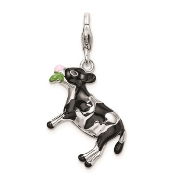 SS RH 3-D Enameled Eating Cow w/Lobster Clasp Charm