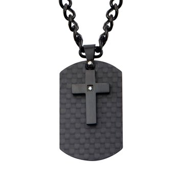 Black Plated Cross with CZ Overlapping on Solid Carbon Fiber Dog Tag Pendant with Chain