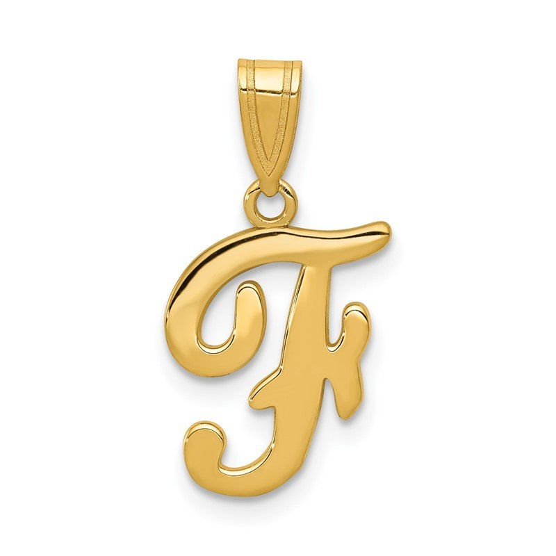 Quality Gold 14KY Script Letter F Initial Pendant