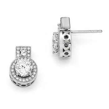 Sterling Silver Brilliant Embers Rhodium-plated CZ Earrings