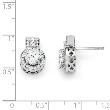 SS Rhodium-Plated CZ Brilliant Embers Earrings
