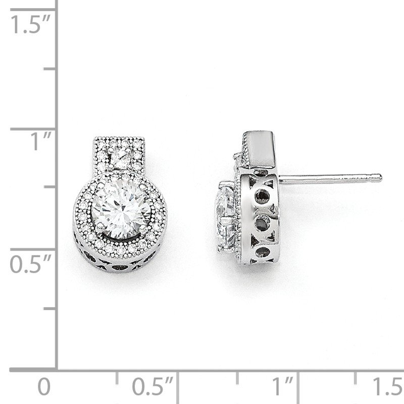 Quality Gold SS Rhodium-Plated CZ Brilliant Embers Earrings