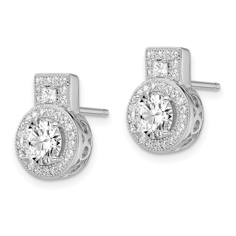 Quality Gold Sterling Silver Brilliant Embers Rhodium-plated CZ Earrings