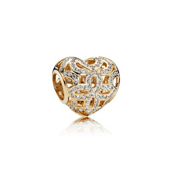Love Appreciation Charm, Clear Cz 14K Gold