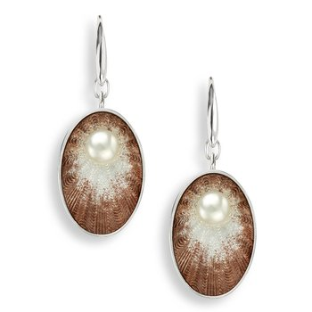 Brown Oval Wire Earrings.Sterling Silver-Freshwater Pearls