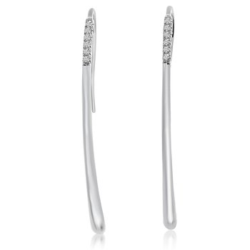 14k White Gold High Polished Threaded Diamond Earrings