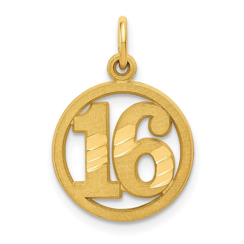 Quality Gold 14k #16 in A Circle Pendant