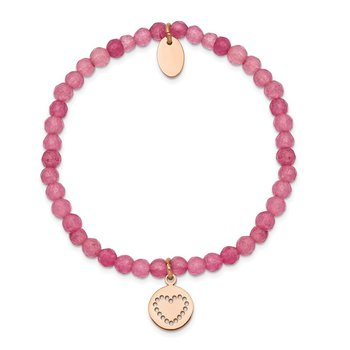 Stainless Steel Polished Rose IP-plated Heart Pink Jade Stretch Bracelet