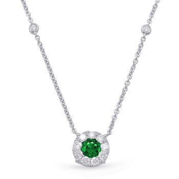 White Gold Emerald & Diamond Necklace