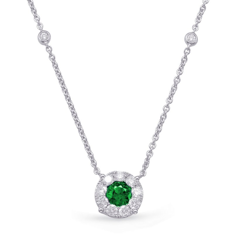 S. Kashi  & Sons White Gold Emerald & Diamond Necklace