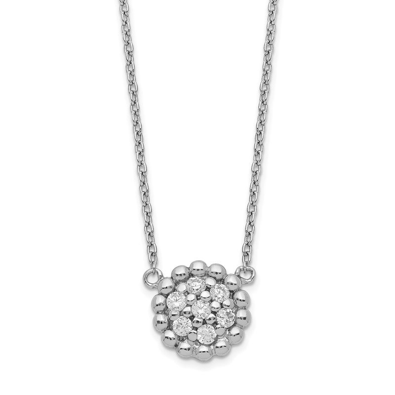 J.F. Kruse Signature Collection Sterling Silver Rhodium Plated CZ Necklace