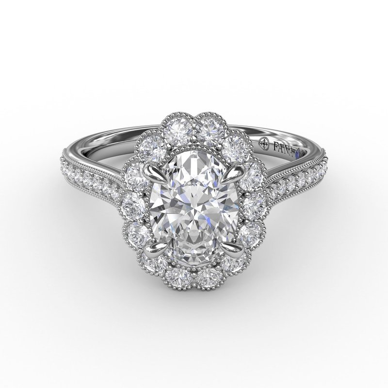 Fana Vintage Scalloped Halo Oval Engagement Ring With Milgrain Details