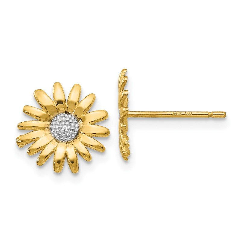 Quality Gold 14k & Rhodium Mini Daisy Post Earrings