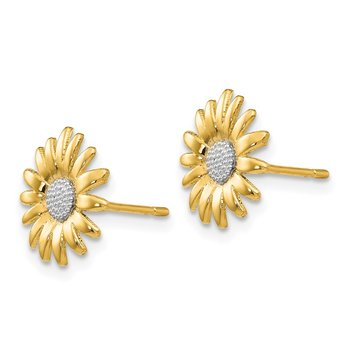 14k & Rhodium Mini Daisy Post Earrings