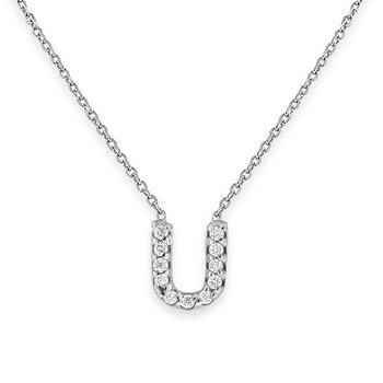 Diamond Bitty Block Initial U Necklace