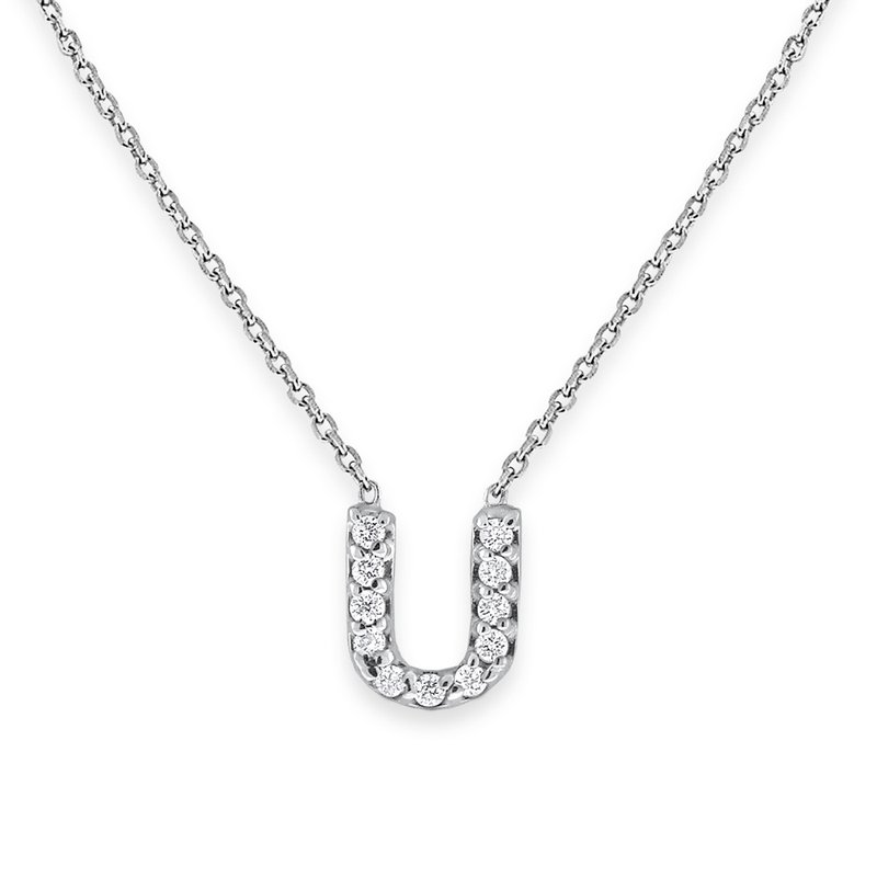 KC Designs Diamond Bitty Block Initial U Necklace