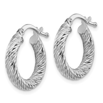 10k 3x10 White Gold Diamond-cut Round Hoop Earrings