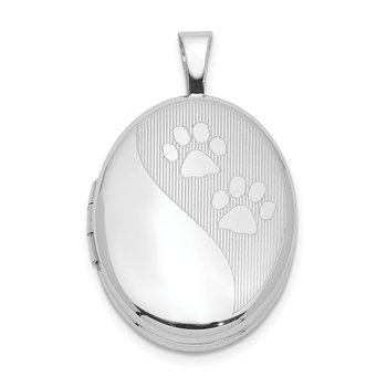 Sterling Silver Rhodium-plated Oval Satin & Polished Paw Prints Locket