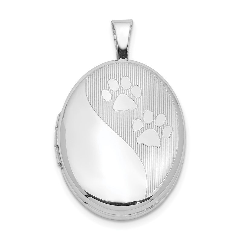 Quality Gold Sterling Silver Rhodium-plated Oval Satin & Polished Paw Prints Locket