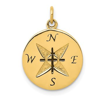 14k Antiqued Compass Pendant