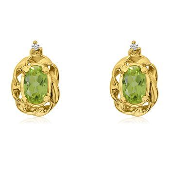 14k Yellow Gold Peridot Scroll Diamond Earrings