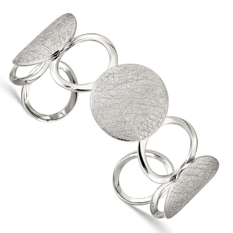 Quality Gold Sterling Silver Polished / Textured Circles Bangle