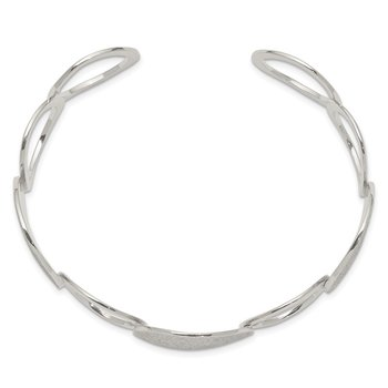 Sterling Silver Polished / Textured Circles Bangle