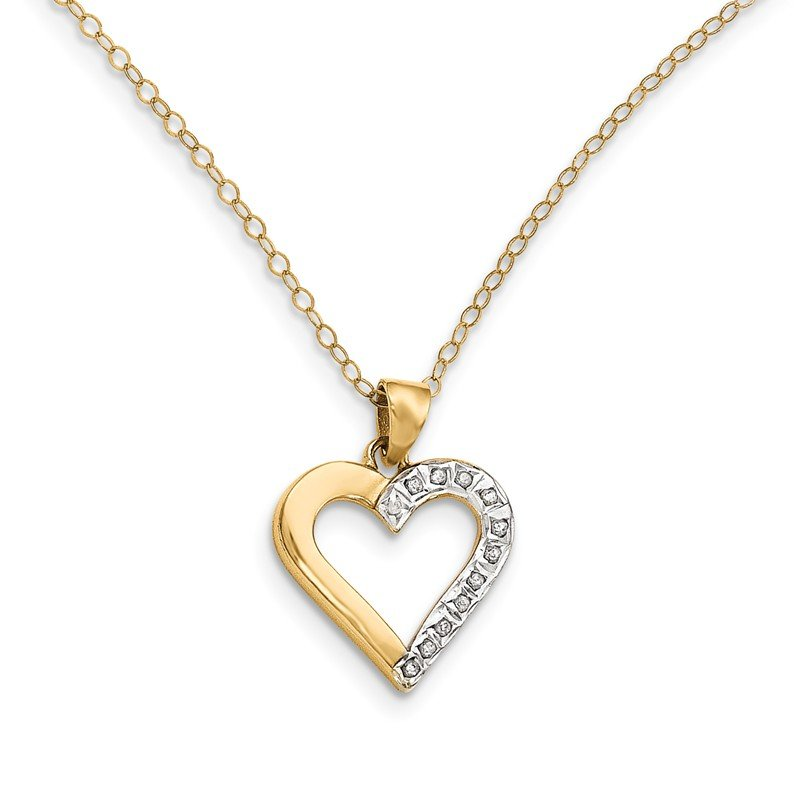 Quality Gold Sterling Silver & Gold-plated Dia. Mystique 18in Heart Necklace