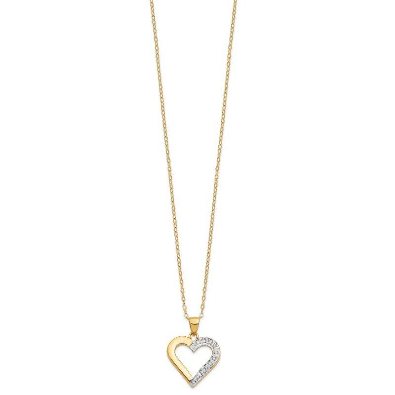 JC Sipe Essentials Sterling Silver & Gold-plated Dia. Mystique 18in Heart Necklace