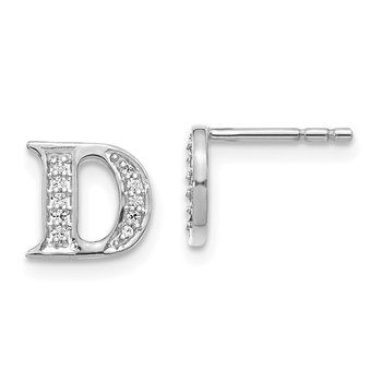 14k White Gold Diamond Initial D Earrings
