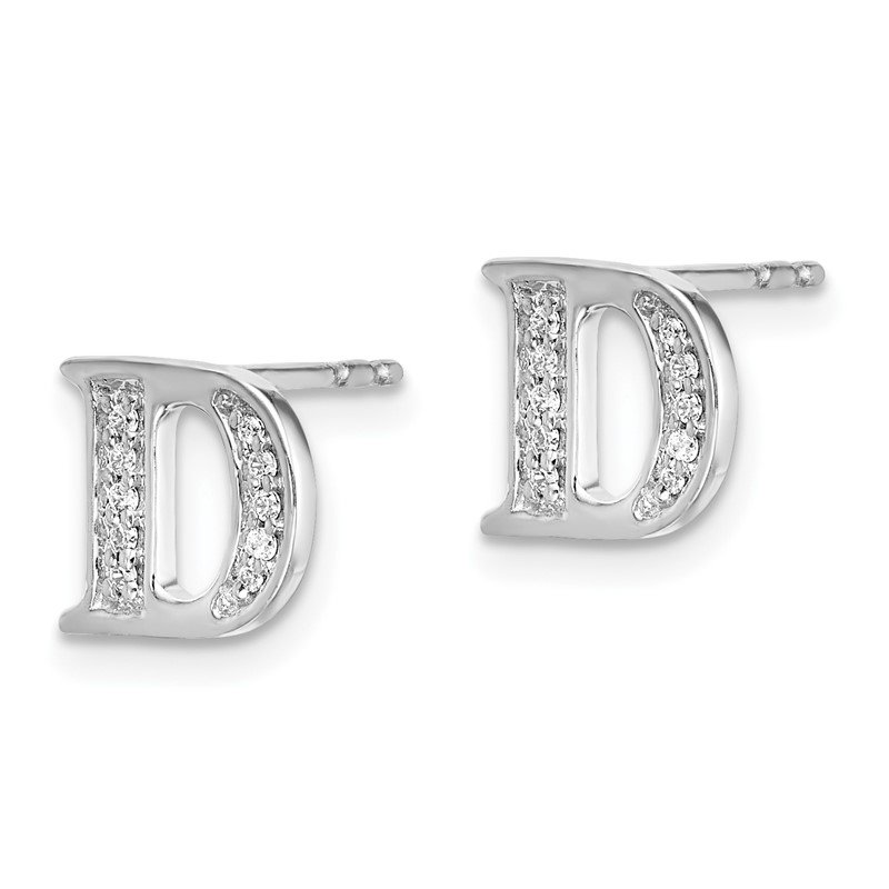 Quality Gold 14k White Gold Diamond Initial D Earrings
