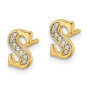 14k White Gold Diamond Initial S Earrings