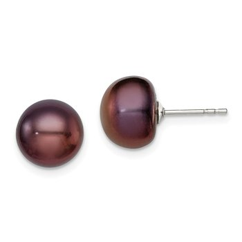 Sterling Silver Rh-plated 9-10mm Black FWC Button Pearl Earrings