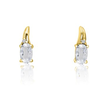 14k Yellow Gold White Topaz and Diamond Earrings