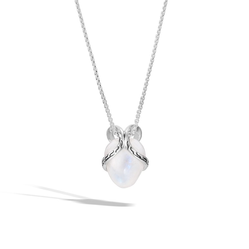 John Hardy Classic Chain Pendant Necklace In Silver with 12MM Gemstone