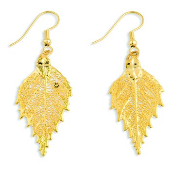24k Gold Dipped Birch Leaf Gold-tone Dangle Earrings