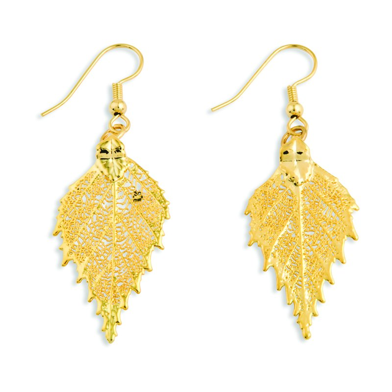 Quality Gold 24k Gold Dipped Birch Leaf Earrings