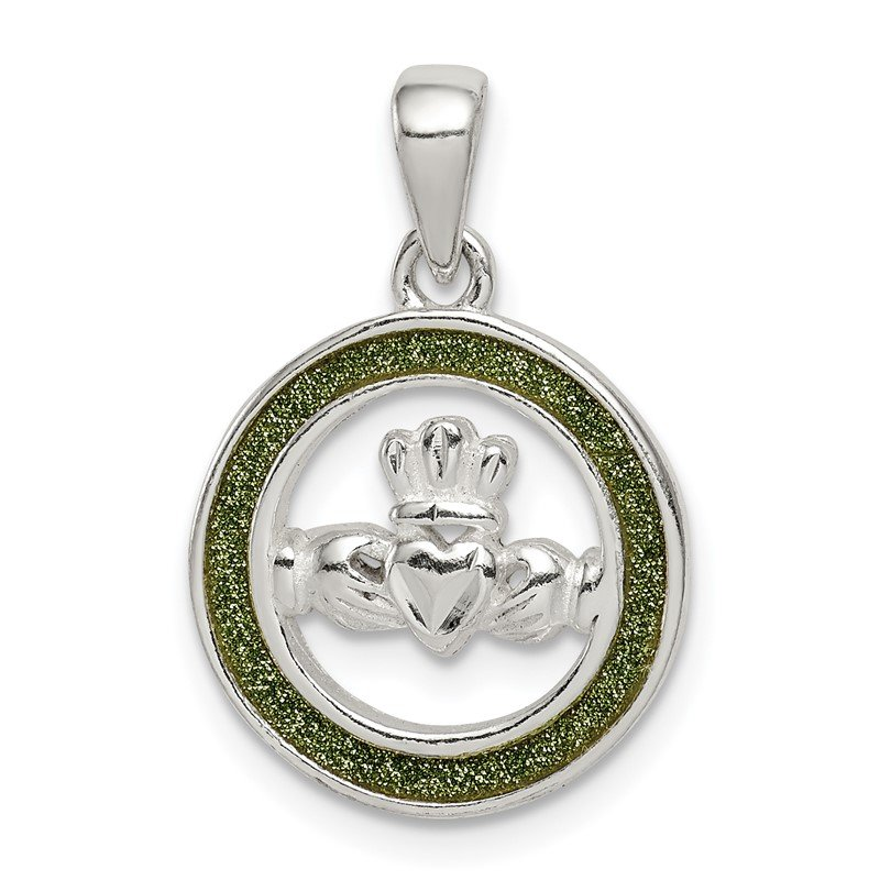 Quality Gold Sterling Silver Glitter Infused Claddagh Pendant