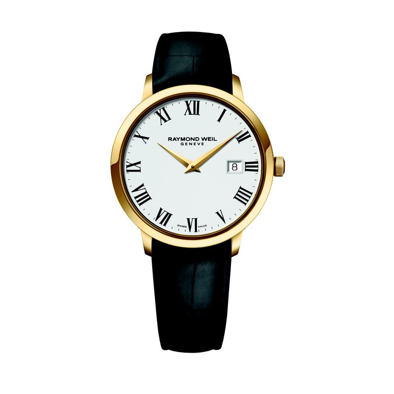 Raymond Weil Men's Quartz Watch, 39 mm steel on leather strap, yellow gold PVD plated