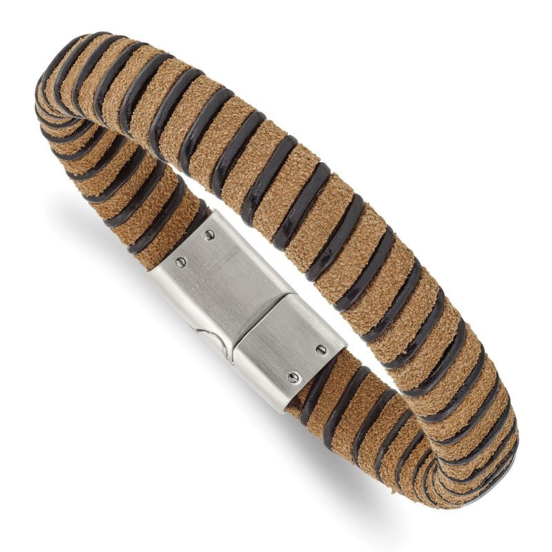 Chisel Stainless Steel Brushed Light Brown Suede Black Leather 8.5in Bracelet
