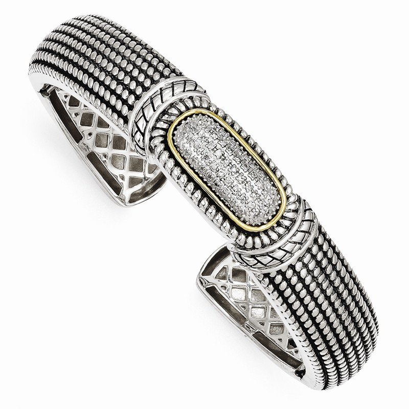 Shey Couture Sterling Silver w/14k 1/4ct. Diamond Cuff Bracelet