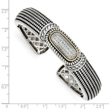 Sterling Silver w/14k 1/4ct. Diamond Cuff Bracelet