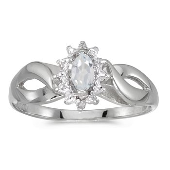 14k White Gold Marquise White Topaz And Diamond Ring