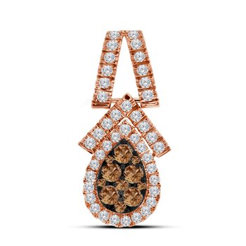 10kt Rose Gold Womens Round Cognac-brown Color Enhanced Diamond Teardrop Cluster Pendant 7/8 Cttw