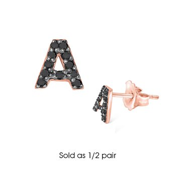 "Black Diamond Single Initial ""A"" Stud Earring (1/2 pair)"