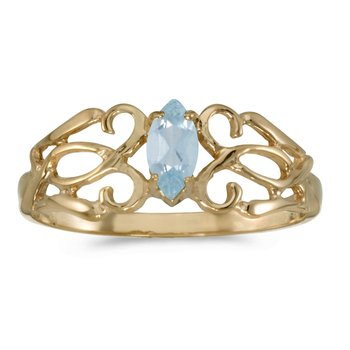 14k Yellow Gold Marquise Aquamarine Filagree Ring