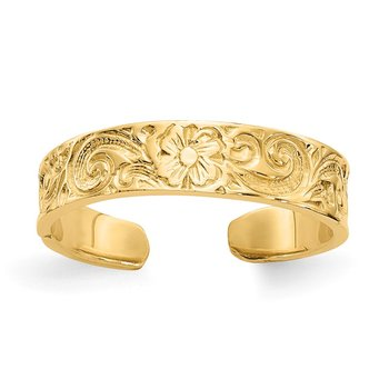 14k Flower/Scroll Toe Ring