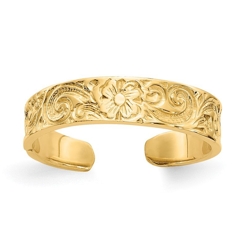 Quality Gold 14k Flower/Scroll Toe Ring