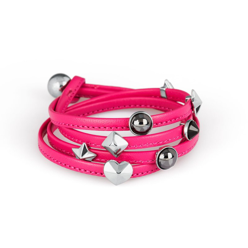 Brosway Bracelet. Fuchsia leather, 316L stainless steel elements and Swarovski® Elements stones